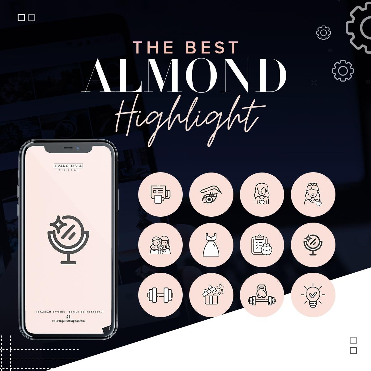 Iconos destacados de Instagram Almond Almendra